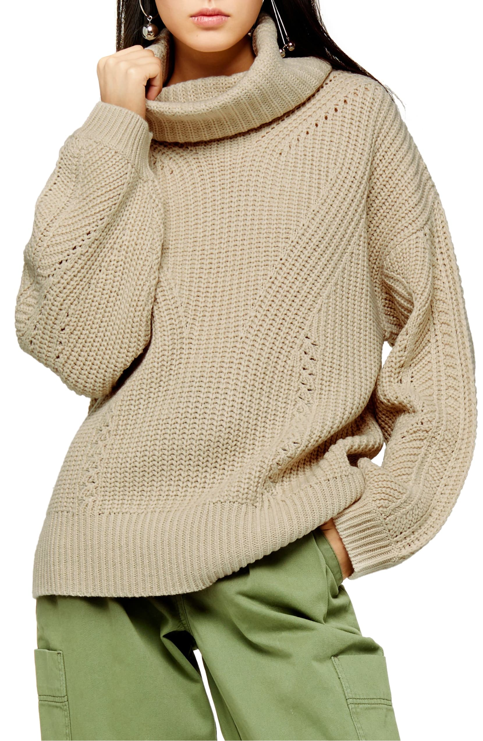 An exaggerated turtleneck adds contemporary appeal to this soft and perfectly slouchy sweater. Shop it{ }- $75. (Image: Nordstrom){ }