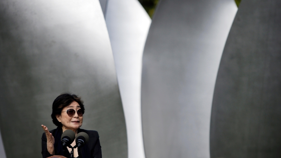 Yoko Ono speaks during...