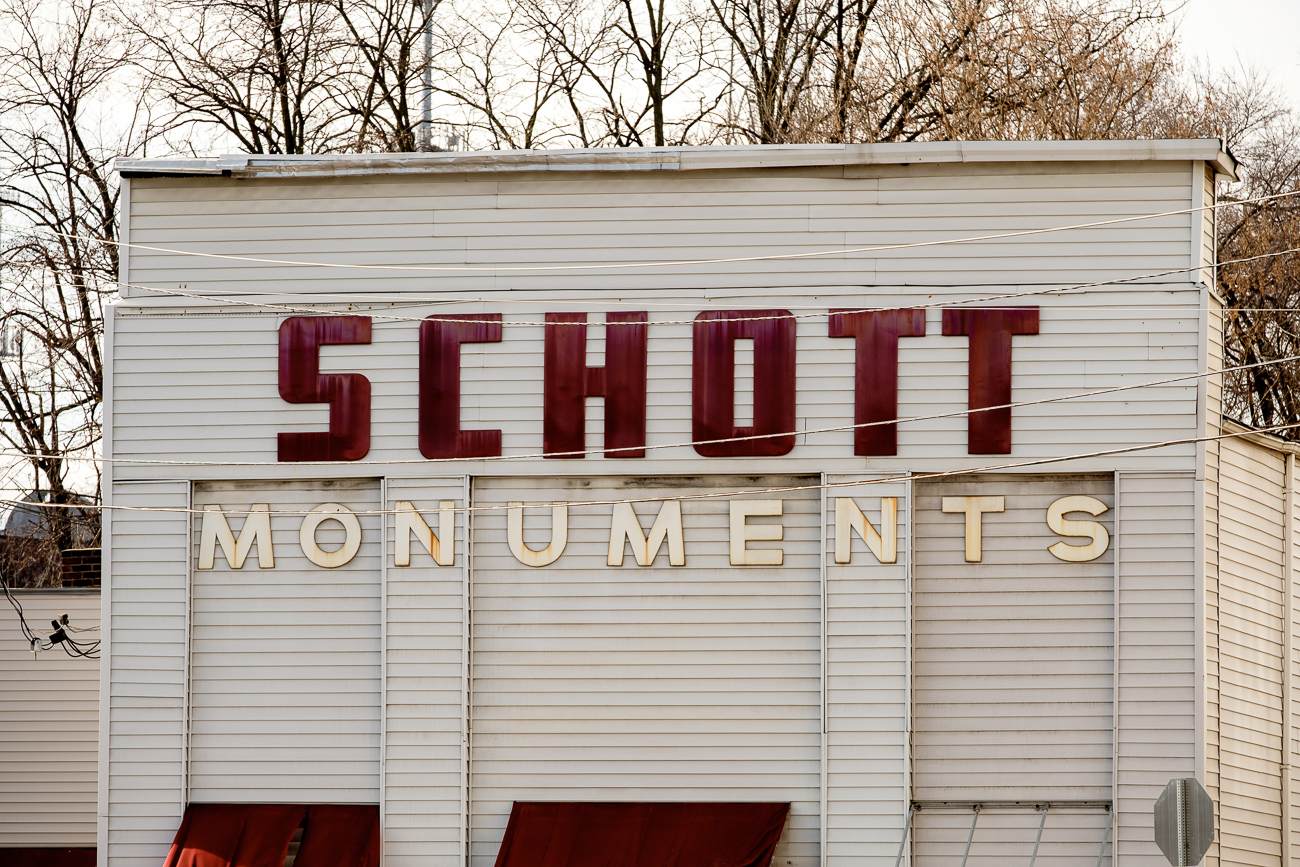 SIGN: Schott Monuments / ADDRESS: 4055 Spring Grove Ave, Cincinnati, OH 45223 // Image: Daniel Smyth // Published: 2.18.17