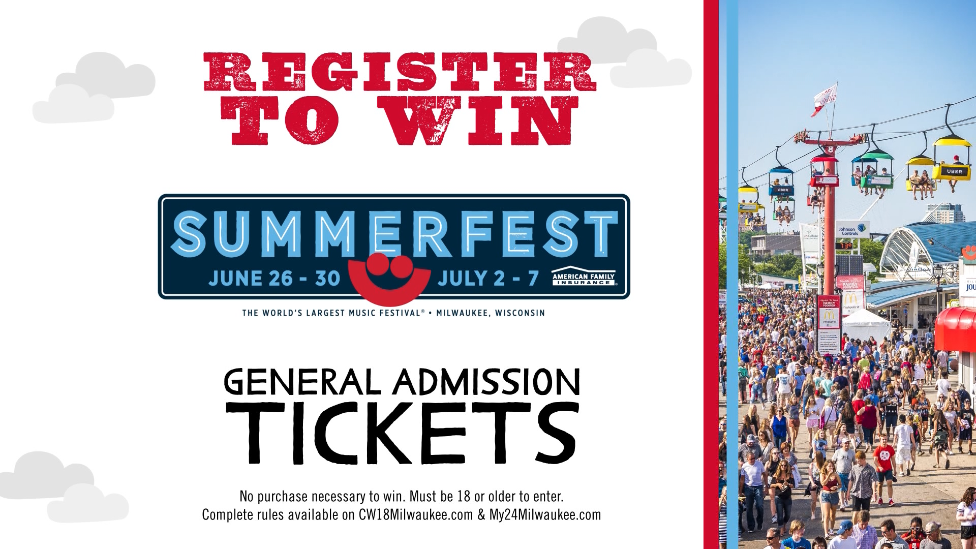Register to win a pair of Summerfest 2019 General Admission Tickets!