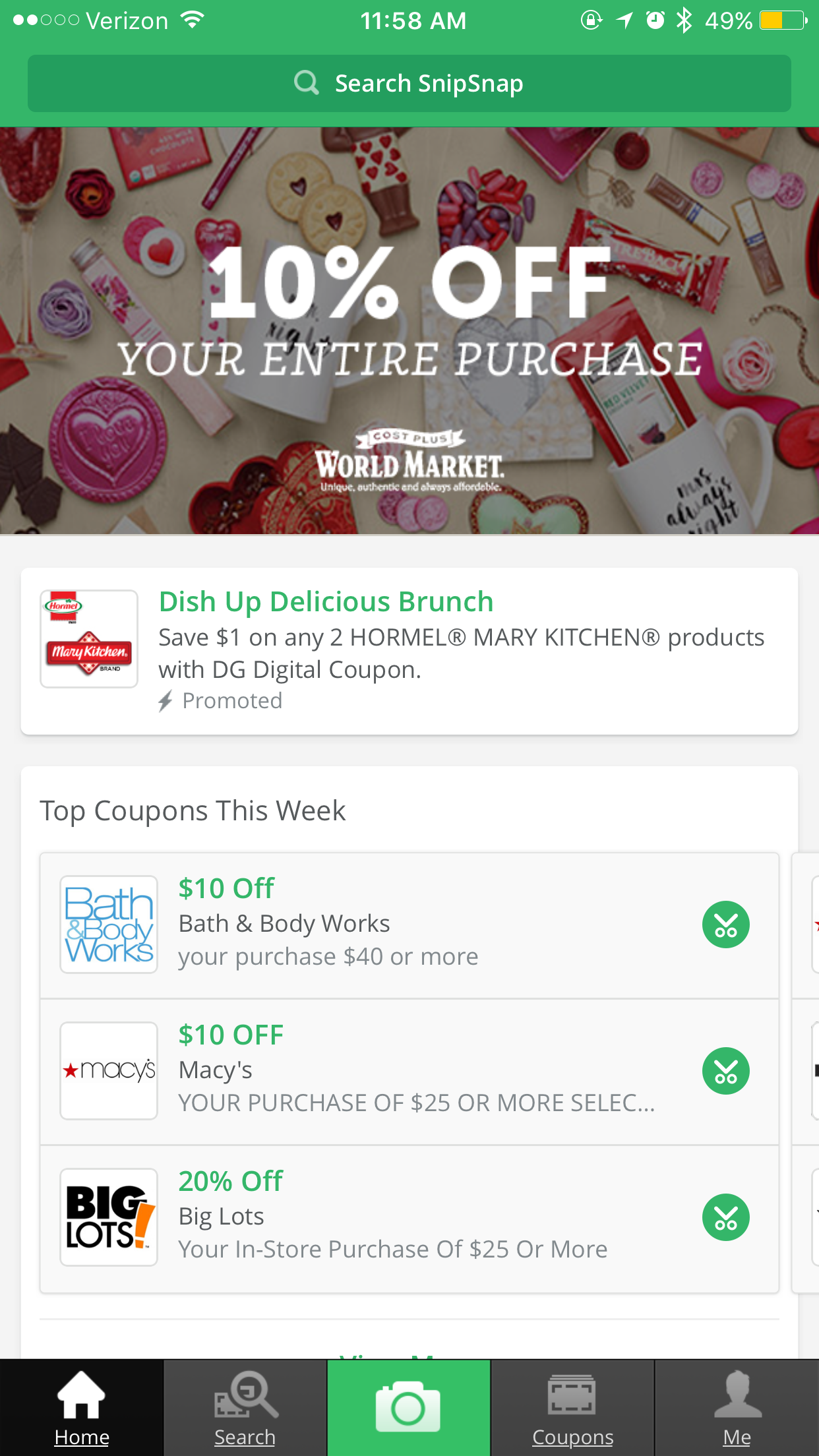 Never forget your coupons again! Snap a photo of a printed coupon and SnipSnap recognizes all the text and images and turns it into a mobile-ready offer. (Screenshot from SnipSnap App)