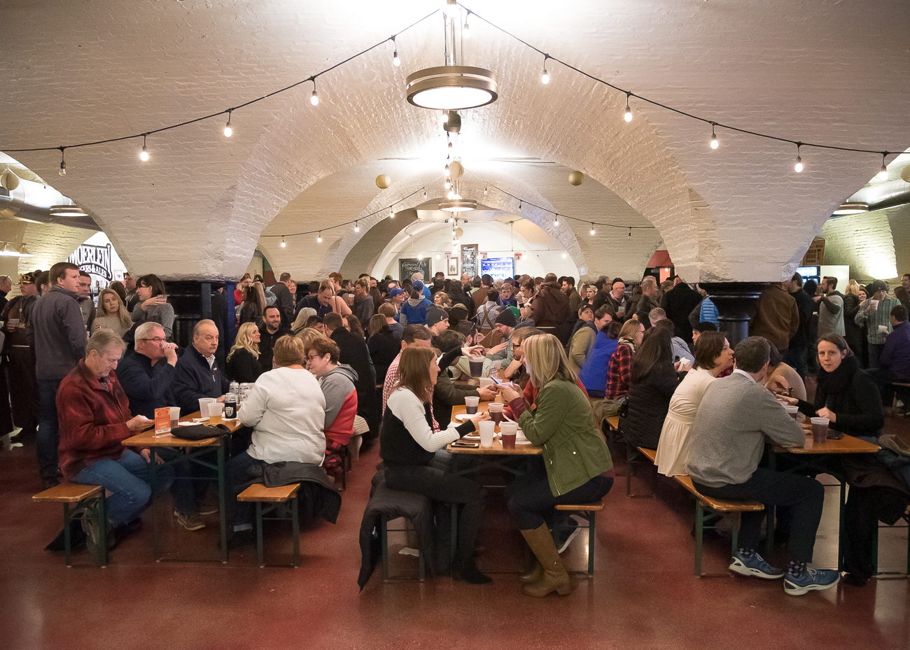 Bockfest Hall filled to the brim with happy festival-goers Friday night. / Image: Phil Armstrong, Cincinnati Refined // Published: 3.2.19