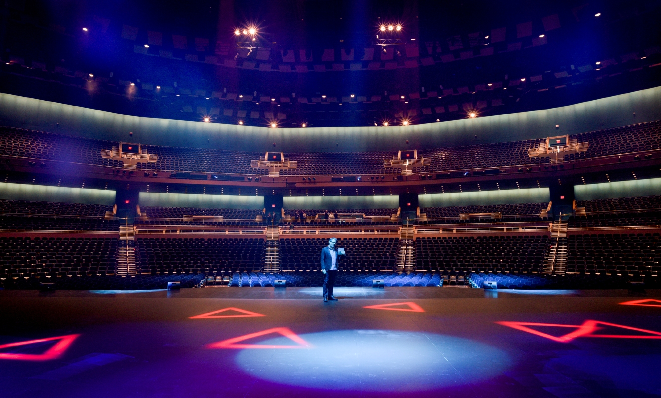 In this view from the back of the stage, Franccois Blais, director of technology for Sceno Plus Designs, describes the stage technology of The Park Theater at the Monte Carlo Resort and Casino is seen during a press preview in Las Vegas on Tuesday, Dec. 6, 2016. The 5200-seat venue opens on Dec. 17 with Stevie Nicks and The Pretenders.  CREDIT: Mark Damon/Las Vegas News Bureau
