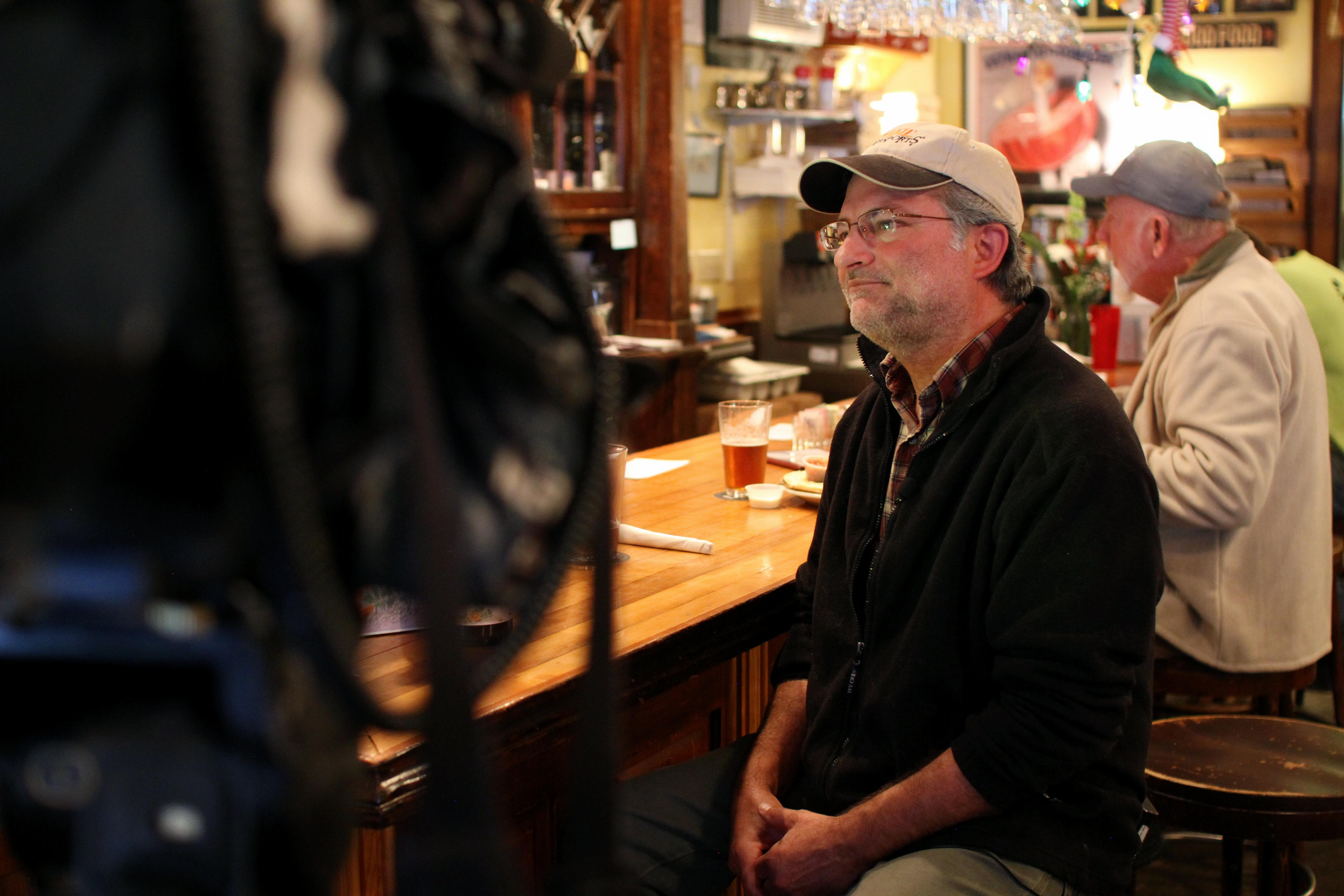 Blue Mountain Pizza customer Bill Tilson speaks with News 13 in Dec. 2017. (Photo credit: WLOS Staff)