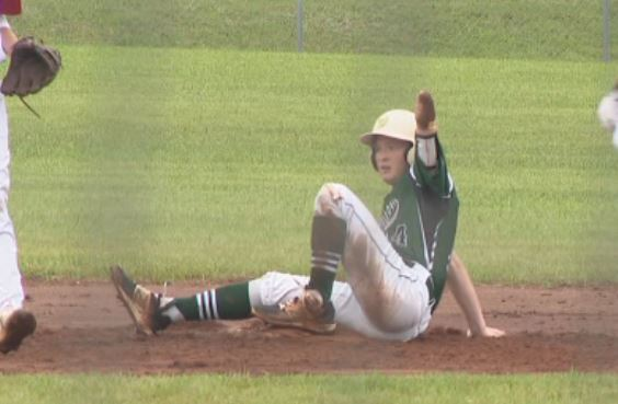 Jacob steals second vs. Midland (photo: KATV)