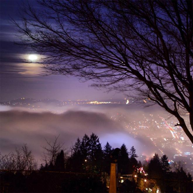 Fog over Portland Friday night -- (Photo: YouNews contributor: Mike Warner)