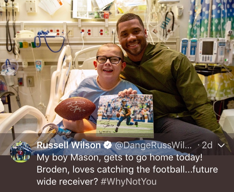 That one time Russ changed a life...Happy 30th birthday, Russell! (Image: @dangerusswilson / twitter.com/dangerusswilson)