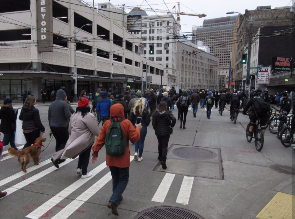 A Black Lives Matter group marched through downtown Seattle on Friday, Nov. 24, 2017. (Photo: KOMO News)
