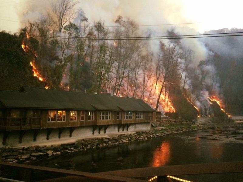 Flames came close to the Nantahala Outdoor Center, forcing it to close for about a week. (Photo credit: Rob Lindsey)