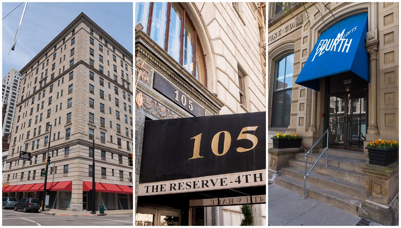 4th Street has numerous places to live: Lytle Tower, The Reserve at 4th and Race, and 4th and Plum Lofts / Images (left to right): Phil Armstrong, Daniel Smyth, and Phil Armstrong // Published: 4.23.18