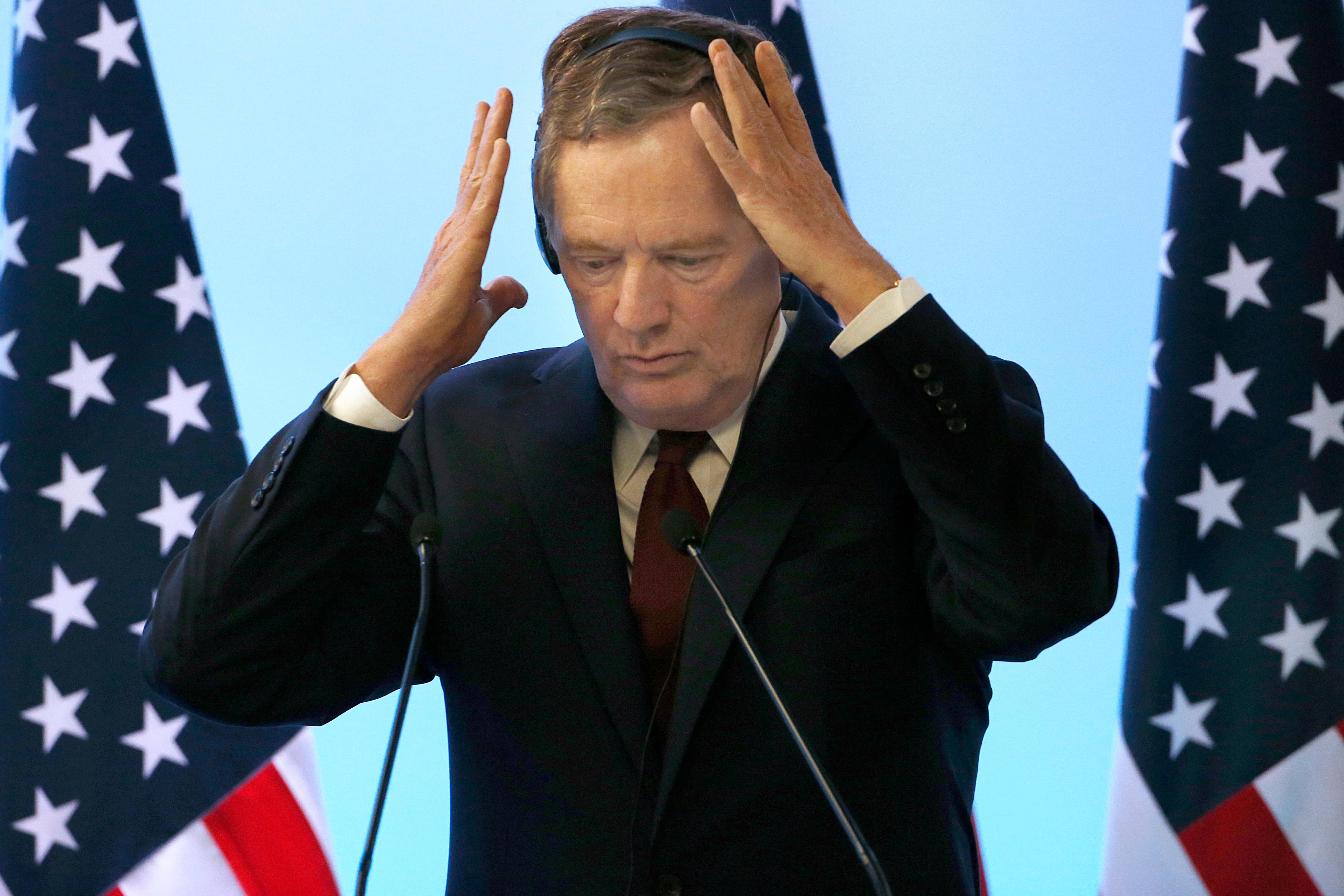 U.S. Trade Representative Robert Lighthizer adjusts his headsead during a press conference regarding the seventh round of NAFTA renegotiations in Mexico City, Monday, March 5, 2018. (AP Photo / Marco Ugarte)