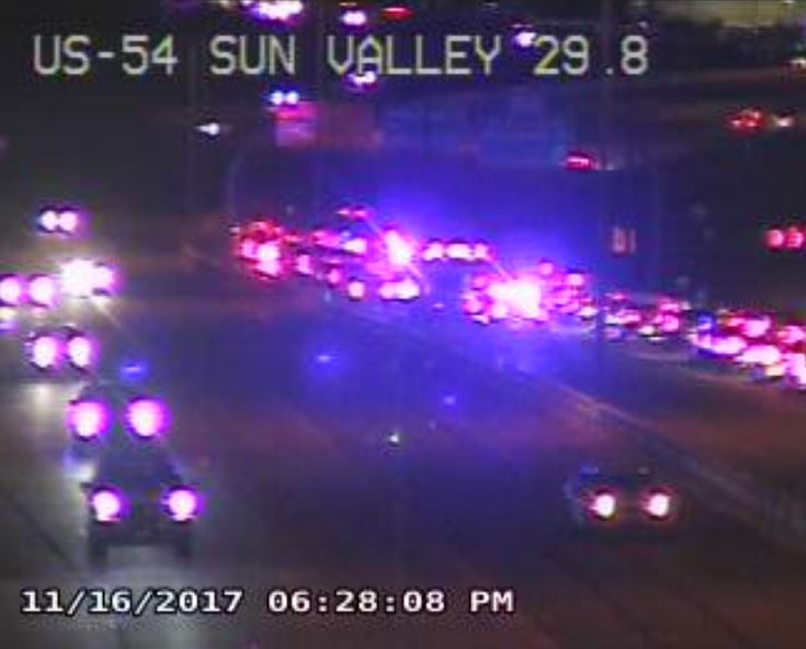 School bus crash involving several vehicles causes back up on US54. No injuries reported. (TXDOT photo)