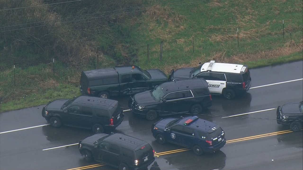Aftermath where police chase ended on Auburn's S. 277th Street (KOMO Photo / Air 4){ }