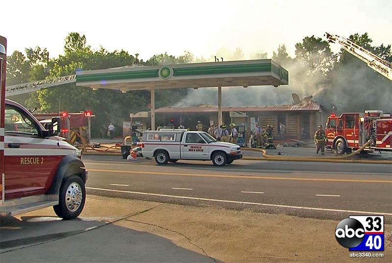Fire at Trussville gas station, Tuesday, June 17, 2014.