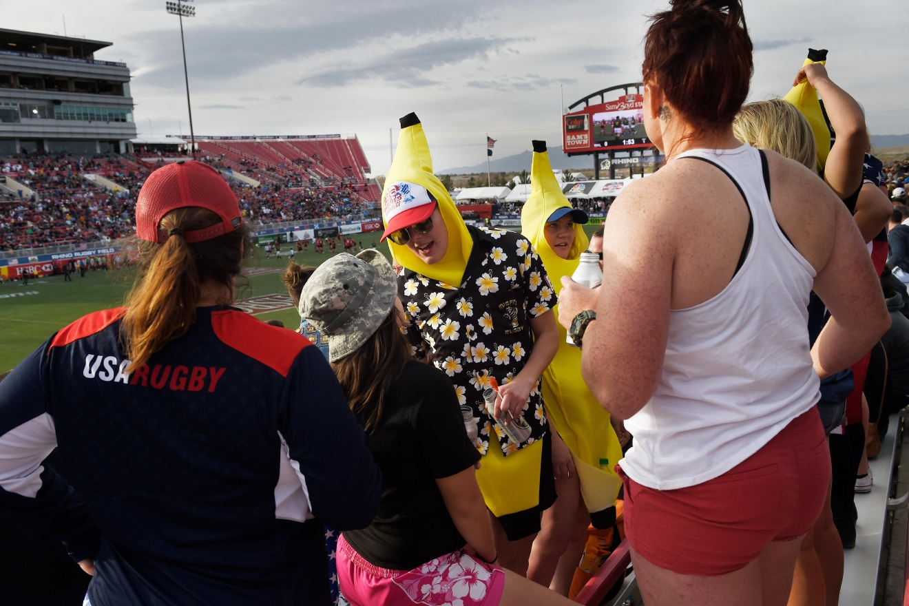 Rugby fans in costume are a common sight during the USA Sevens rugby tournament Saturday, March 4, 2017, at Sam Boyd Stadium. [Sam Morris/Las Vegas News Bureau]