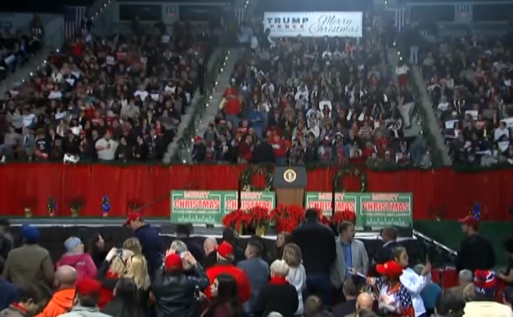 FILE: Image shows a campaign rally attended by President Donald Trump in Pensacola, Florida on Friday, December 8, 2017. Trump is campaigning for Alabama Senate candidate Roy Moore. (CNN Newsource)