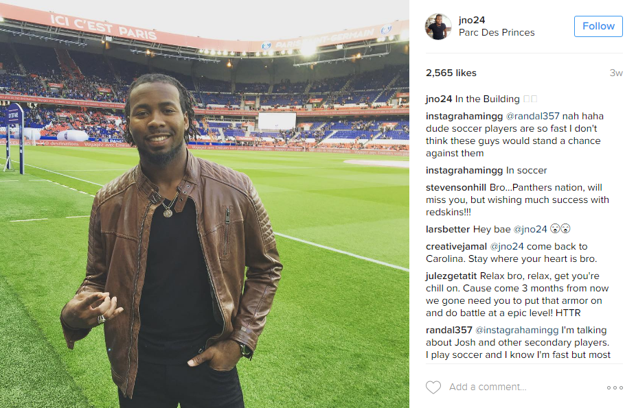 "And he squeezed in a ""football"" match a few weeks ago at the Parc des Princes (Image: @jno24 Instagram)"