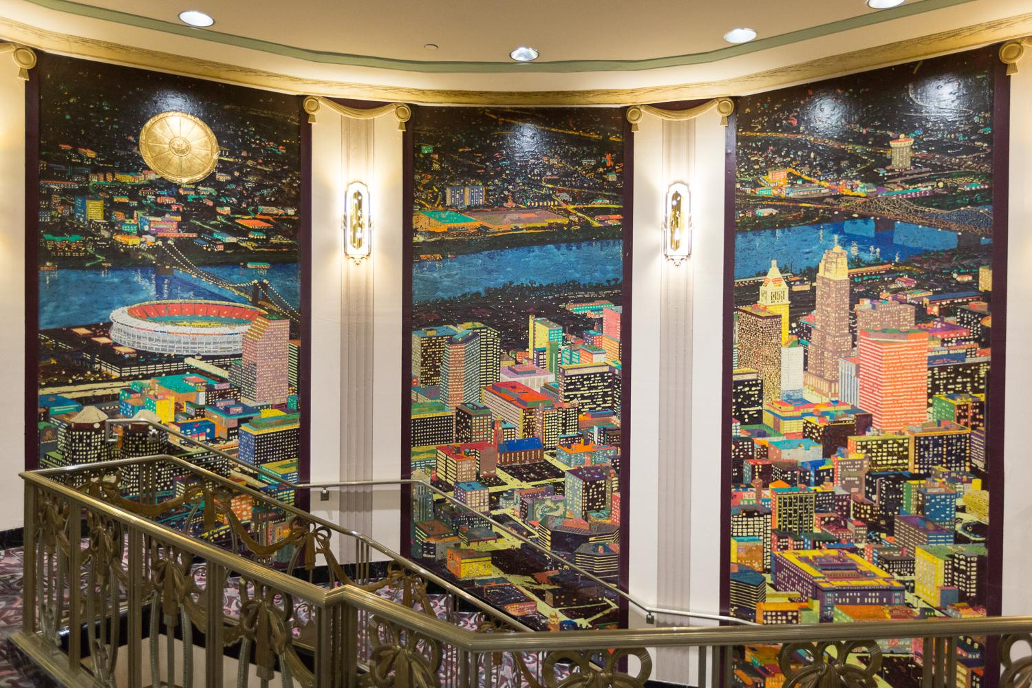 Some of the murals that were added during the 1980s renovation / Image: Daniel Smyth Photography
