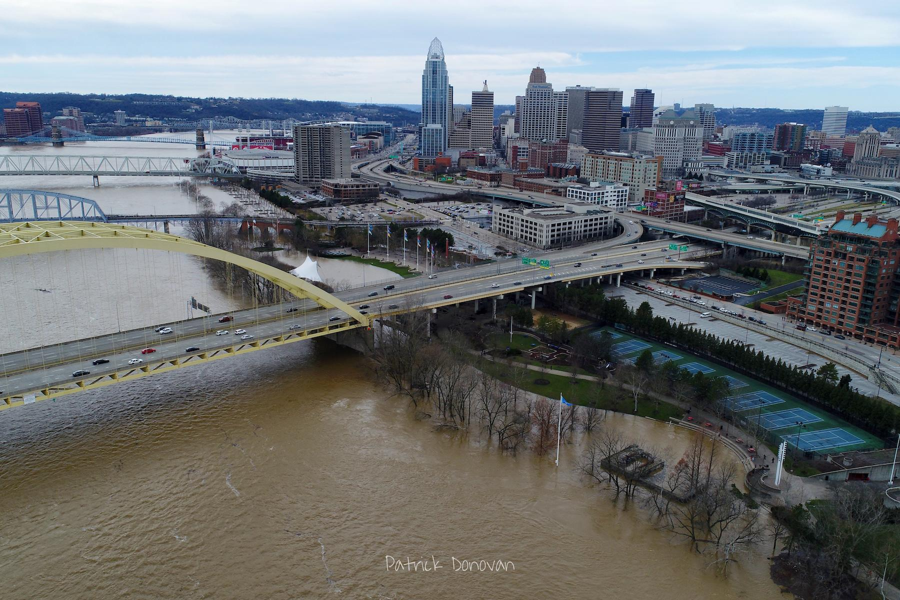 On Sunday, February 25, the Ohio River Flood of 2018 crested just above 60 feet, which is eight feet above the 52-foot flood stage. This is the biggest flood the city has seen since 1997. Smale Park is mostly underwater as are Sawyer Point and Yeatman's Cove. / Image: Patrick Donovan // Published: 2.26.18