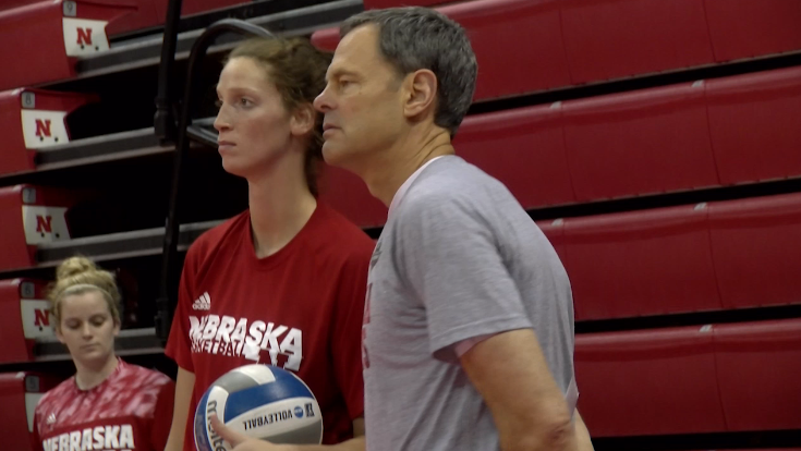 John Cook, head coach of Nebraska volleyball, looks on during practice, April 20, 2017, at the Bob Devaney Sports Center (NTV News)