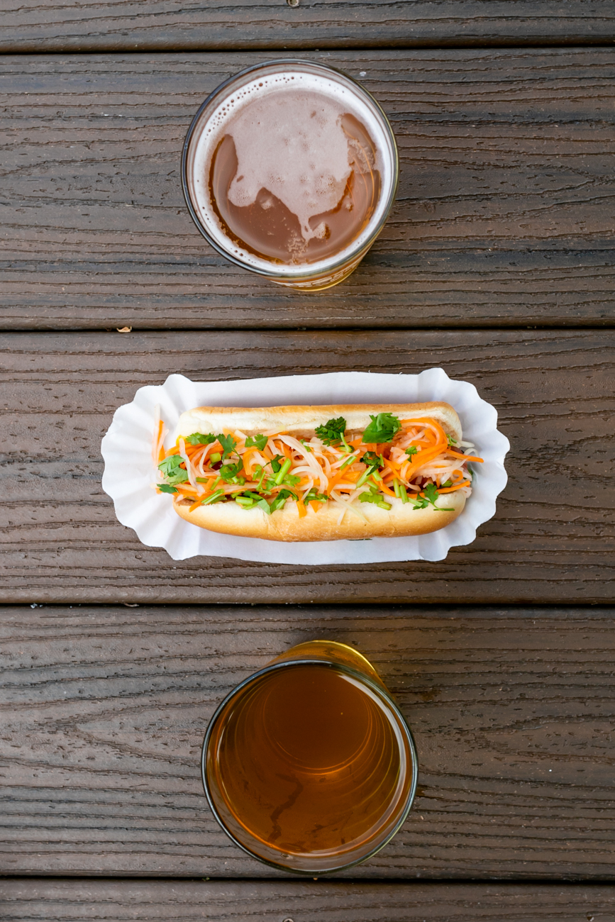 Cambodian-style Nathan's all beef hot dog topped with mustard, pickled papaya, and cilantro / Image: Amy Elisabeth Spasoff // Published: 8.13.18
