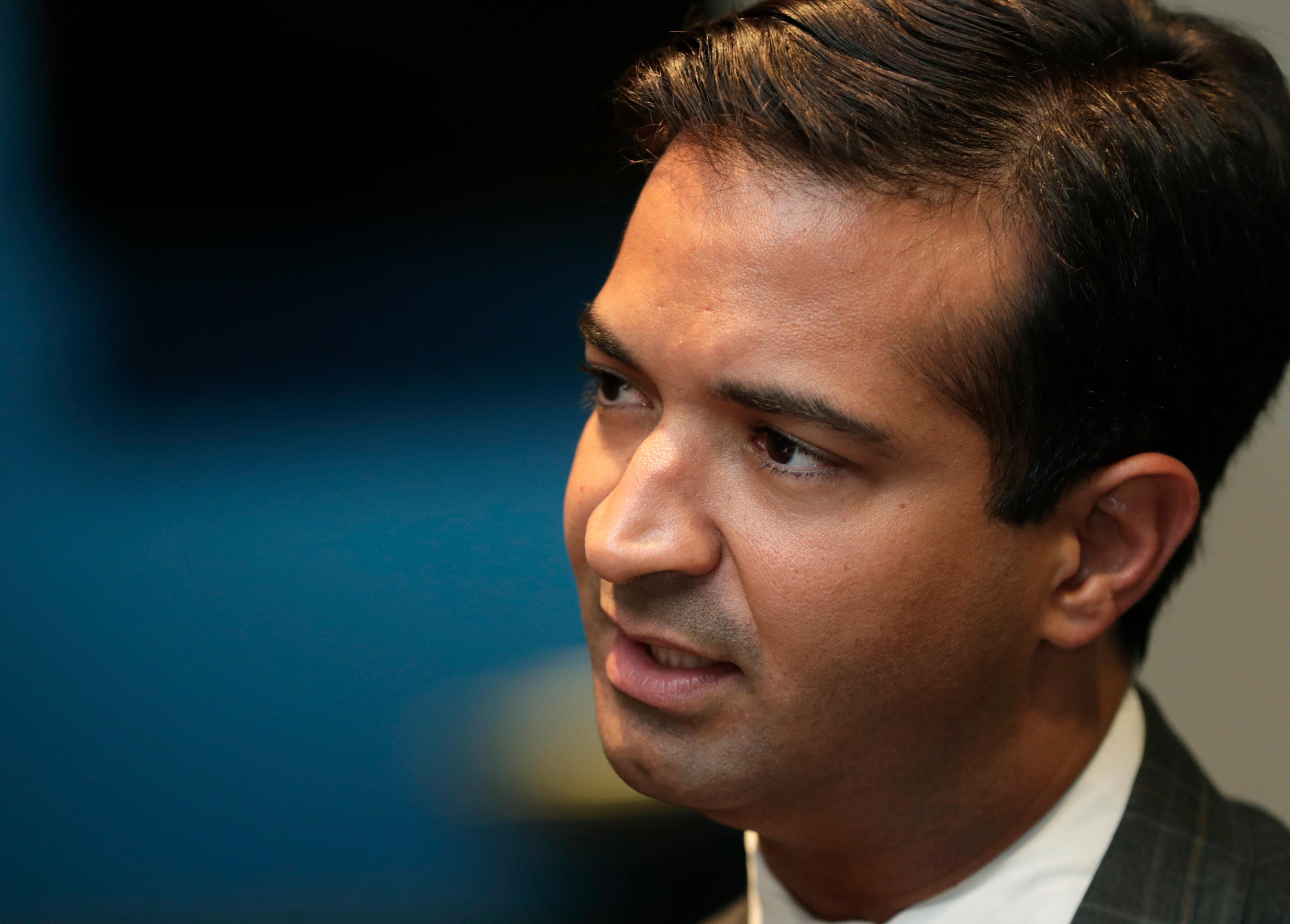 In this Tuesday, May 29, 2018 photo, Rep. Carlos Curbelo, R-Fla., speaks during an interview in Homestead, Fla.{ } (AP Photo/Lynne Sladky)