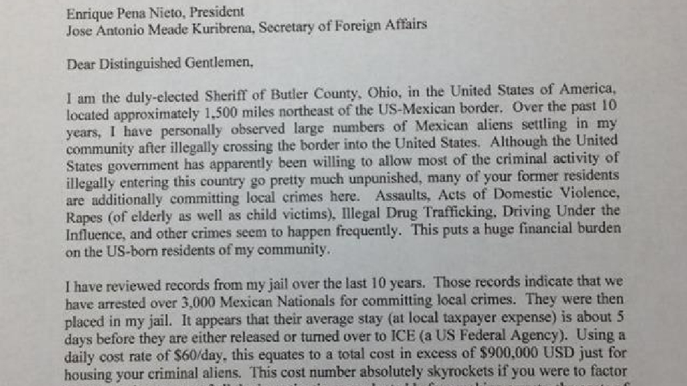 Ohio sheriff sends letter demanding payment from Mexico president | KOKH