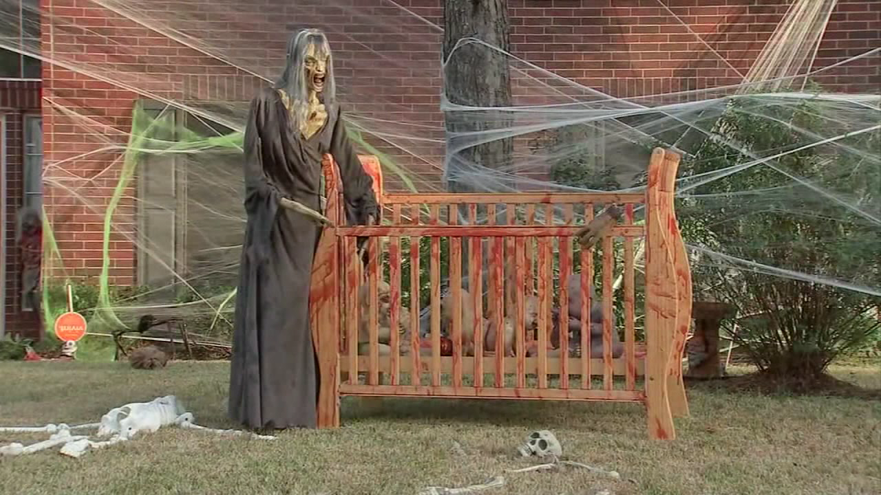 One Halloween display in Texas is getting pushback from moms who say children shouldn't see these kind of decorations while walking around the neighborhood. (KTRK/CNN Newsource)