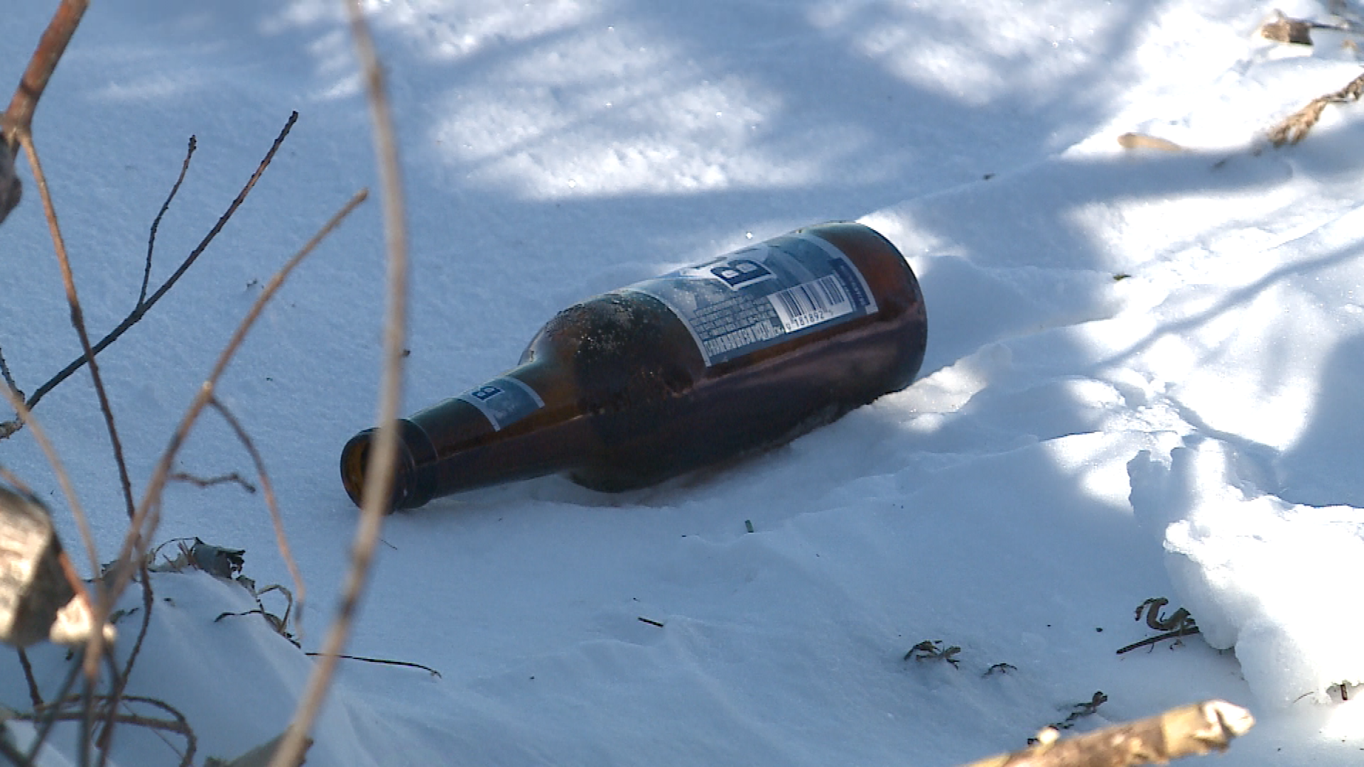 An empty beer bottle sits along the shoreline of a frozen Lake Winnebago in Fond du Lac County, Jan. 2, 2018. (WLUK image)<p></p>