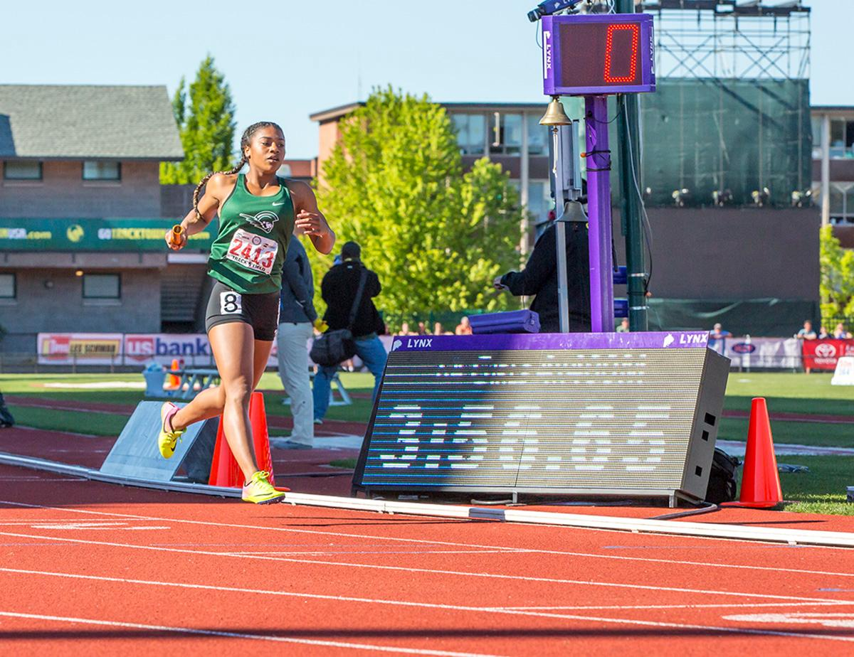 West Salem wins the 6A Girls 4x400 meter relay with a time of 3:56.65 at the OSAA State Track Championships at Hayward Field on Saturday. Photo by James Wegter, Oregon News Lab