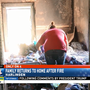 Family returns to burnt home after fire