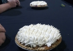 Pies sit on a table April 13, 2017, at the Fox Cities Performing Arts Center in Appleton. One of the pies contains the winning ticket for the Good Day Wisconsin Broadway Nights contest hidden inside.