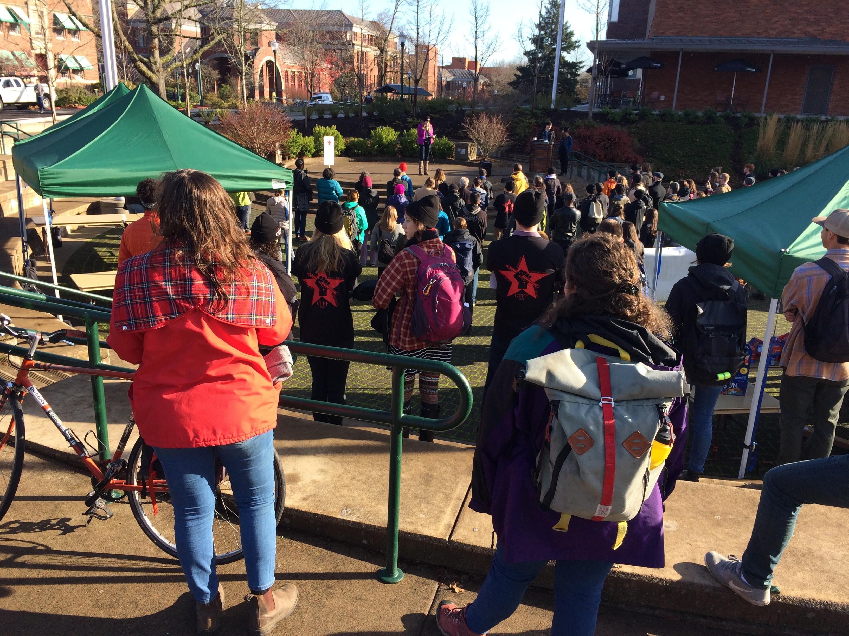 University of Oregon graduate students walked out Wed. as part of a national movement opposing the House-proposed tax plan. Photo by Audrey Weil.