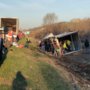 Overturned tractor trailer slows traffic near Holts Summit