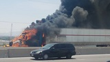 18-wheeler fire slows down traffic on I-10 east
