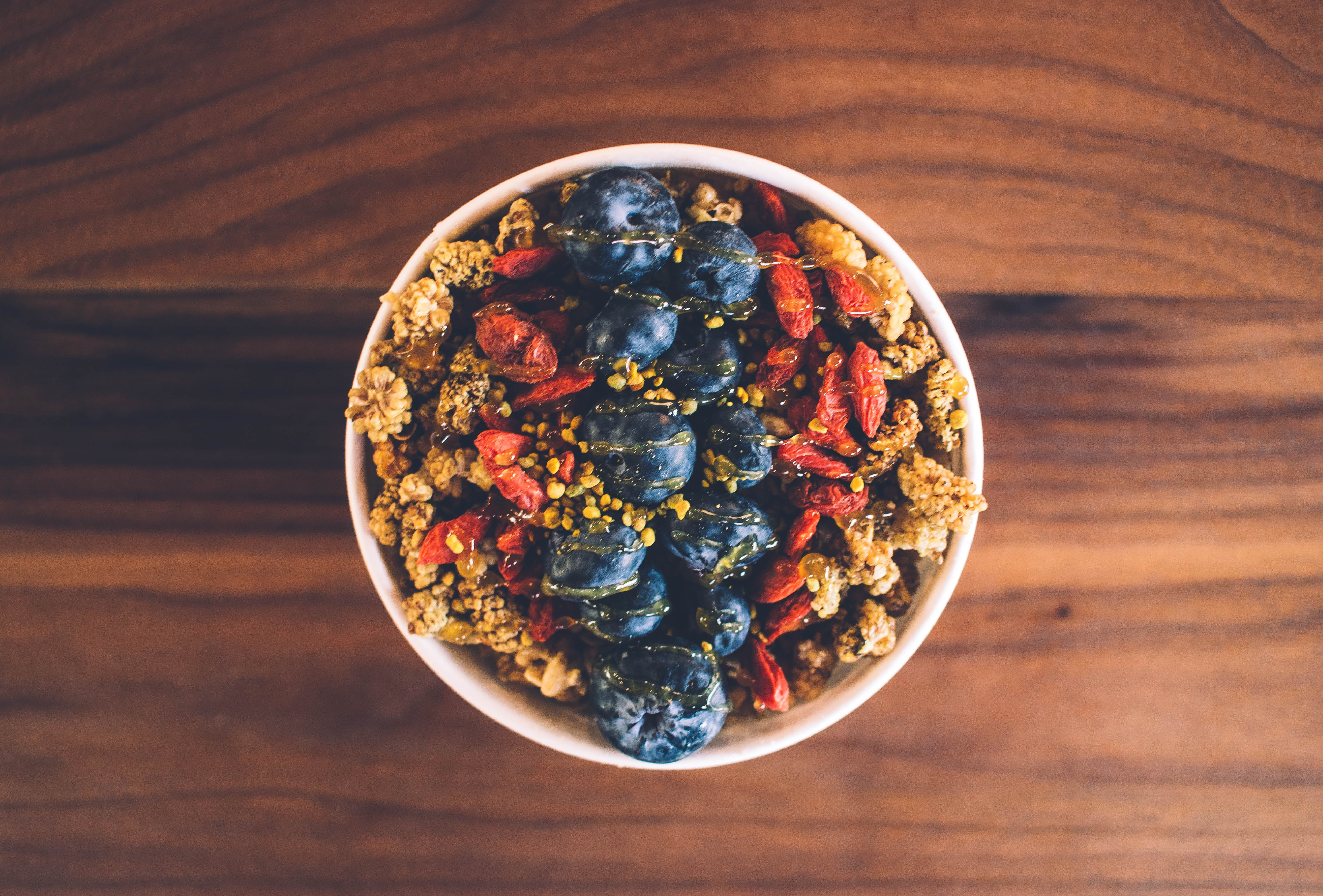 Check out FIT BAR's Admiral Bowl, packed with mulberries, goji berries, blueberries, flax seeds, hemp hearts and bee pollen. (Credit: Gabe Lewis)<p></p>