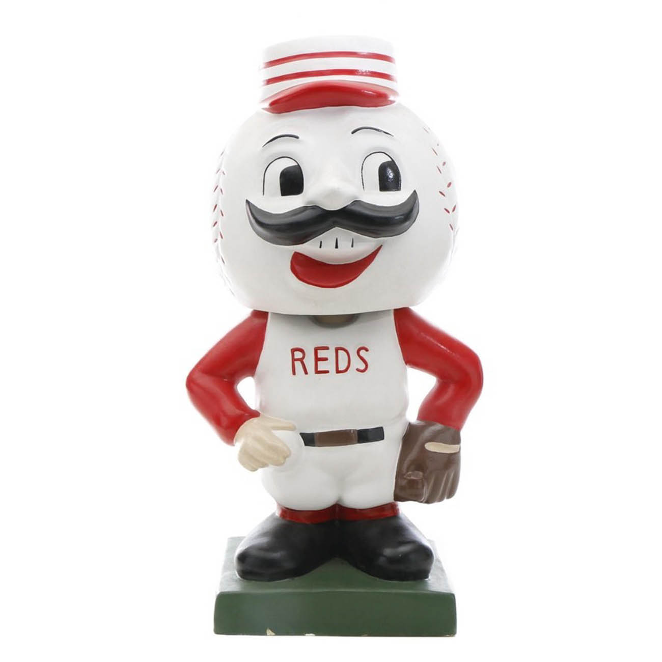 "This massive bobblehead doll of the Cincinnati Reds' famous team mascot, Mr. Redlegs, represents a 1962 era bobblehead doll and was created by artist Henry ""Hank"" Zuerick. He is dressed in the sleeveless white jersey with red underliner attire that was made famous by such greats as Ted Kluszewski, Vada Pinson, Frank Robinson, and others. This giant baseball bobblehead doll is the largest on record. He stands at 90 inches tall (7.5 feet!). / Image courtesy of Everything But The House (EBTH) // Published: 12.6.18"