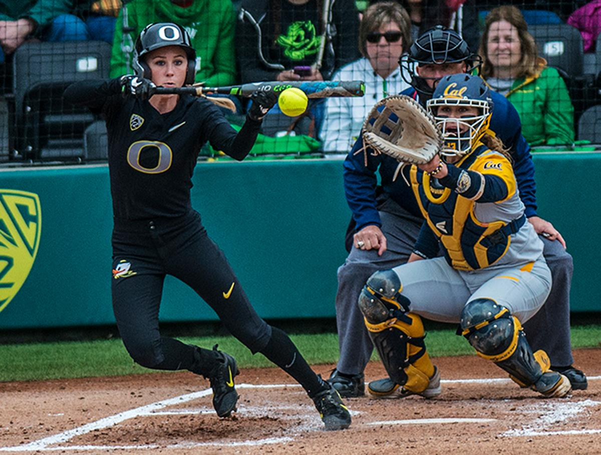 Oregon Ducks Alexis Mack (#10) bunts the ball. The Oregon Ducks defeated the Cal Bears 2-1 in game two of a three-game series. Photo by Rhianna Gelhart, Oregon News Lab