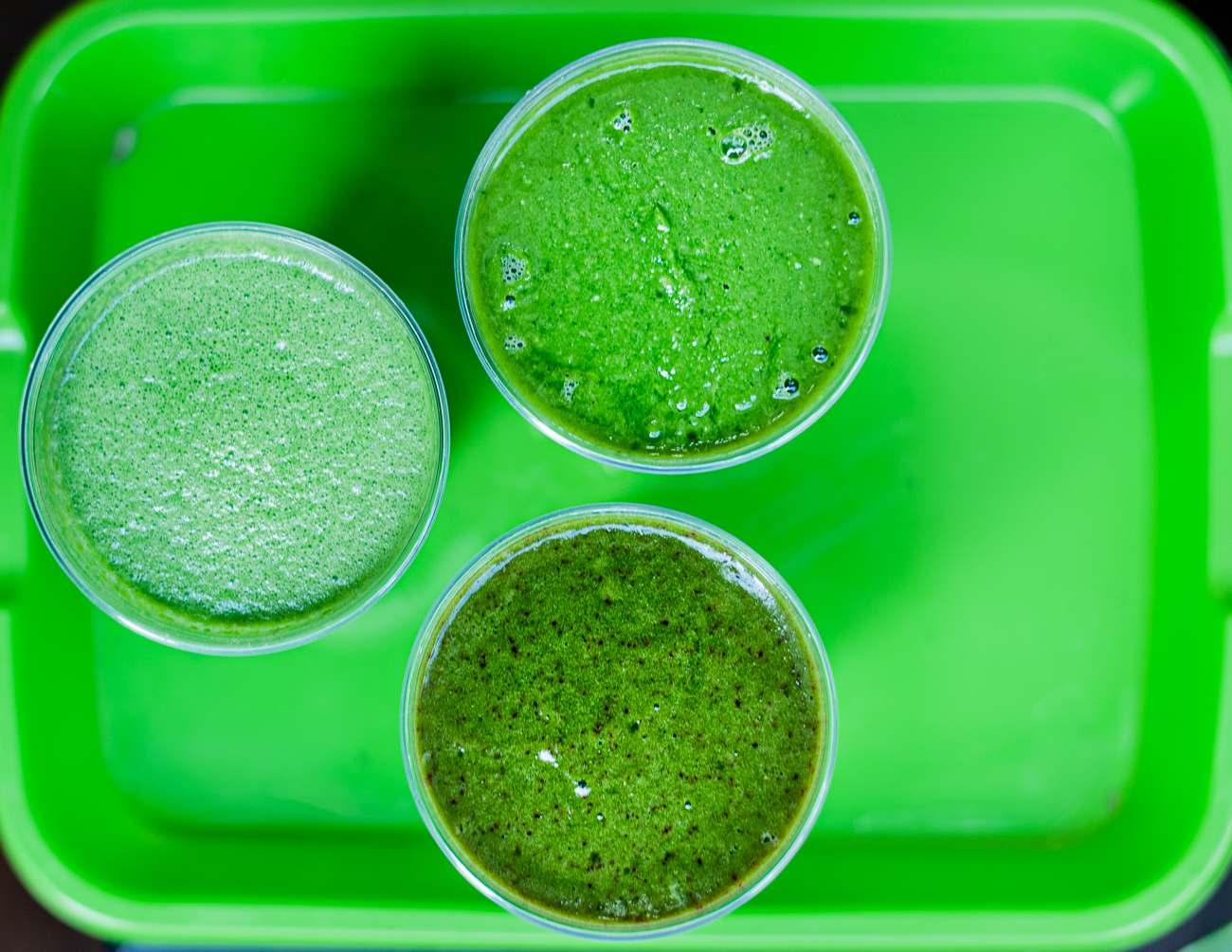 OMG! (Ohm my greens!) Juice, Wheat Grass Smoothie, and Cherry Bomb (organic spinach, organic cherries, pineapple, lime, and watermelon) / Image: Kellie Coleman // Published: 12.27.20