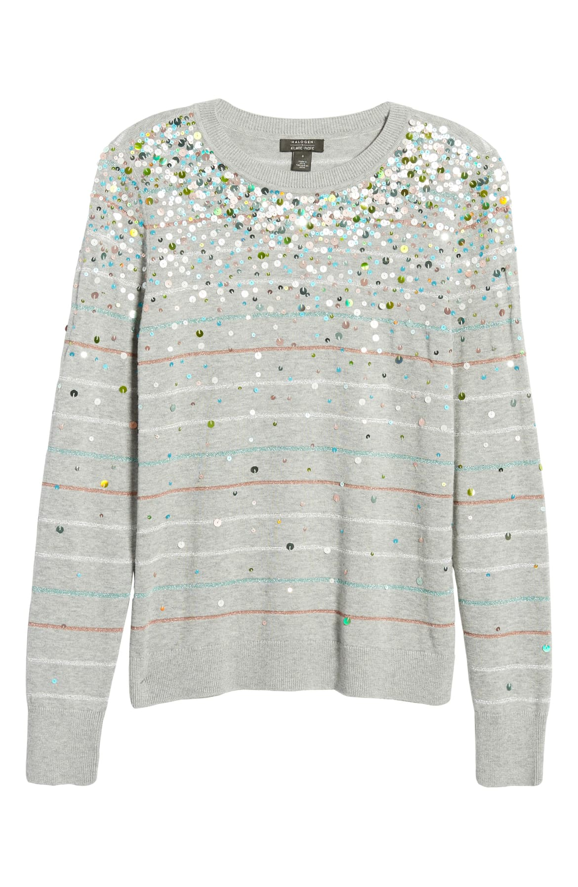 "<a  href=""https://shop.nordstrom.com/s/halogen-x-atlantic-pacific-confetti-metallic-stripe-sweater-nordstrom-exclusive/5356611/full?origin=keywordsearch-personalizedsort&breadcrumb=Home%2FAll%20Results&color=grey%20htr%20multi%20sequin%20stripe"" target=""_blank"" title=""https://shop.nordstrom.com/s/halogen-x-atlantic-pacific-confetti-metallic-stripe-sweater-nordstrom-exclusive/5356611/full?origin=keywordsearch-personalizedsort&breadcrumb=Home%2FAll%20Results&color=grey%20htr%20multi%20sequin%20stripe"">Halogen x Atlantic Pacific Confetti Metallic Stripe - $119</a>. From cozy to gold hued to tailored, Nordstrom has the hottest trends for getting glam this holiday season! (Credit: Nordstrom)"
