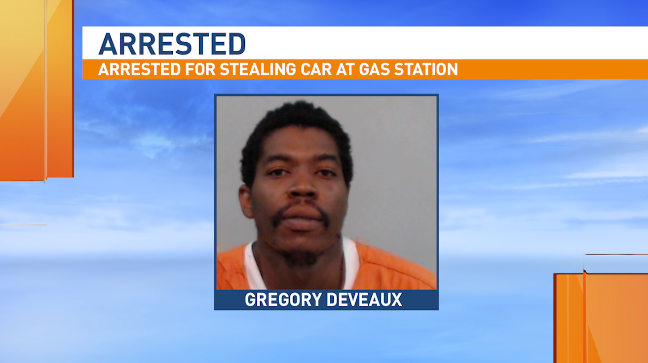 Police arrested a man accused of stealing a woman's car while she was pumping gas.