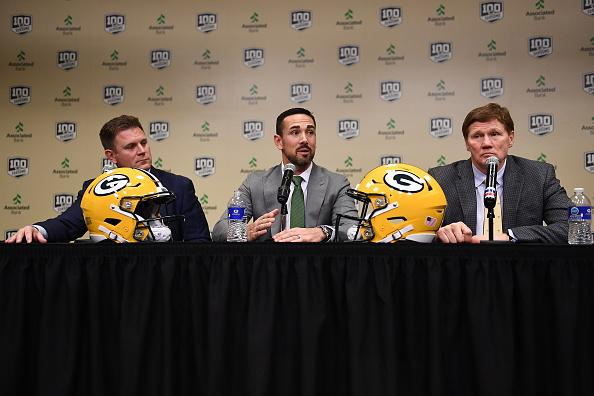 Team president Mark Murphy (right) said LaFleur was the tenth and final candidate the Packers interviewed.{ }