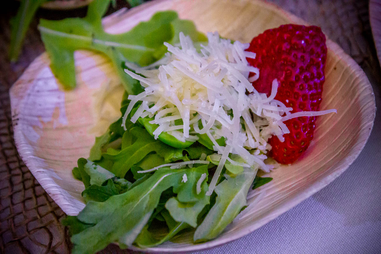 Spring seasonal salad: arugula, strawberries, fava beans, Kenny's Cave aged cheddar, with champagne vnaigrette{ }/ Image: Katie Robinson, Cincinnati Refined // Published: 5.22.19