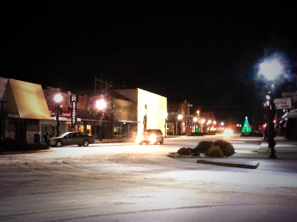 In Pauls Valley, it's just holiday lights, snow, and ice downtown.