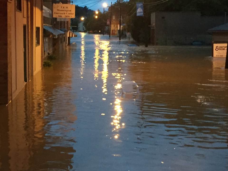 Mannington, in Marion County, received several inches of rain in a short period of time causing flash flooding. Several water rescues had to be performed. (James McGinty)