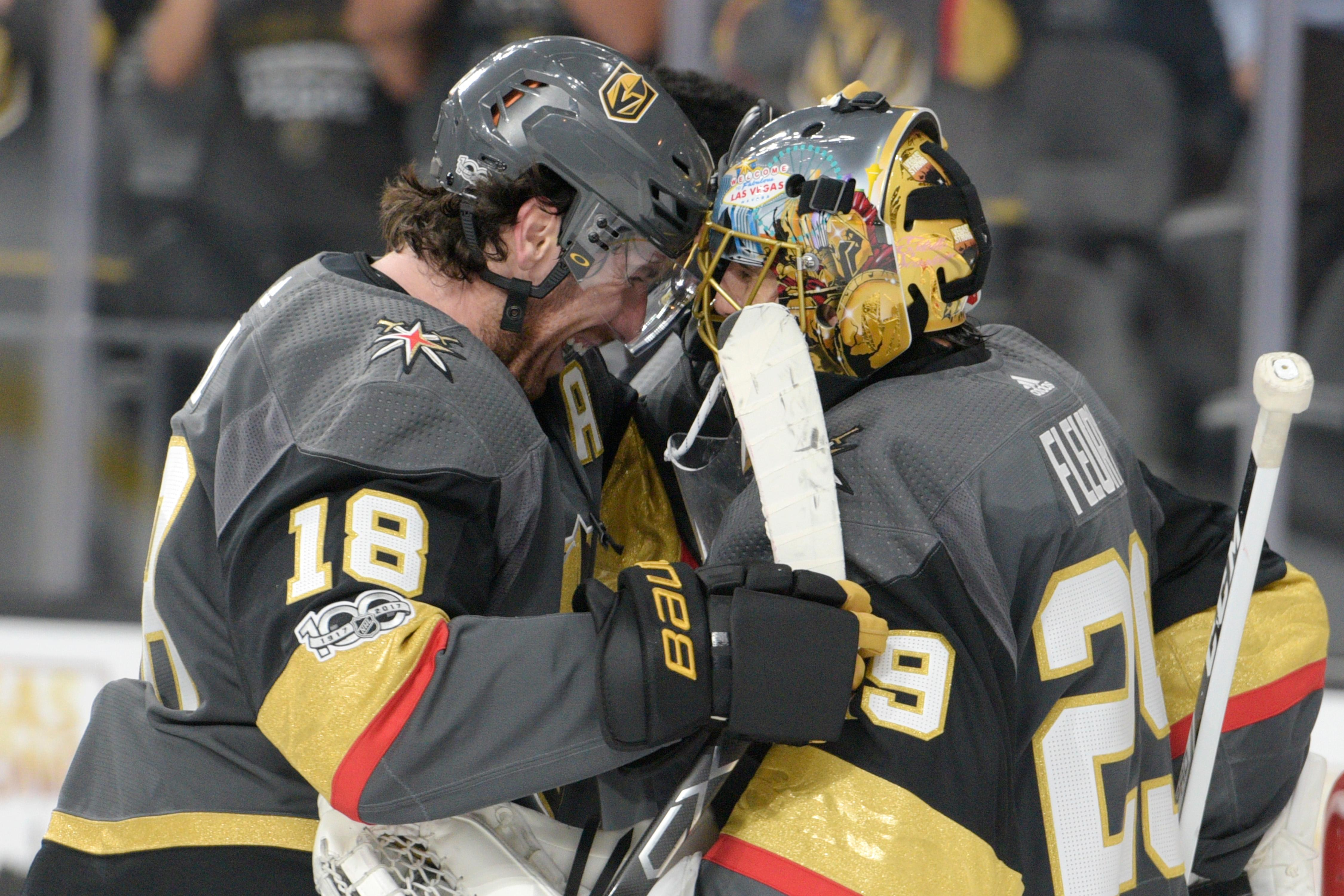 Vegas Golden Knights right wing James Neal (18) congratulates Vegas Golden Knights goalie Marc-Andre Fleury (29) after the Knights home opener Tuesday, Oct. 10, 2017, at the T-Mobile Arena. The Knights won 5-2 to extend their winning streak to 3-0. CREDIT: Sam Morris/Las Vegas News Bureau