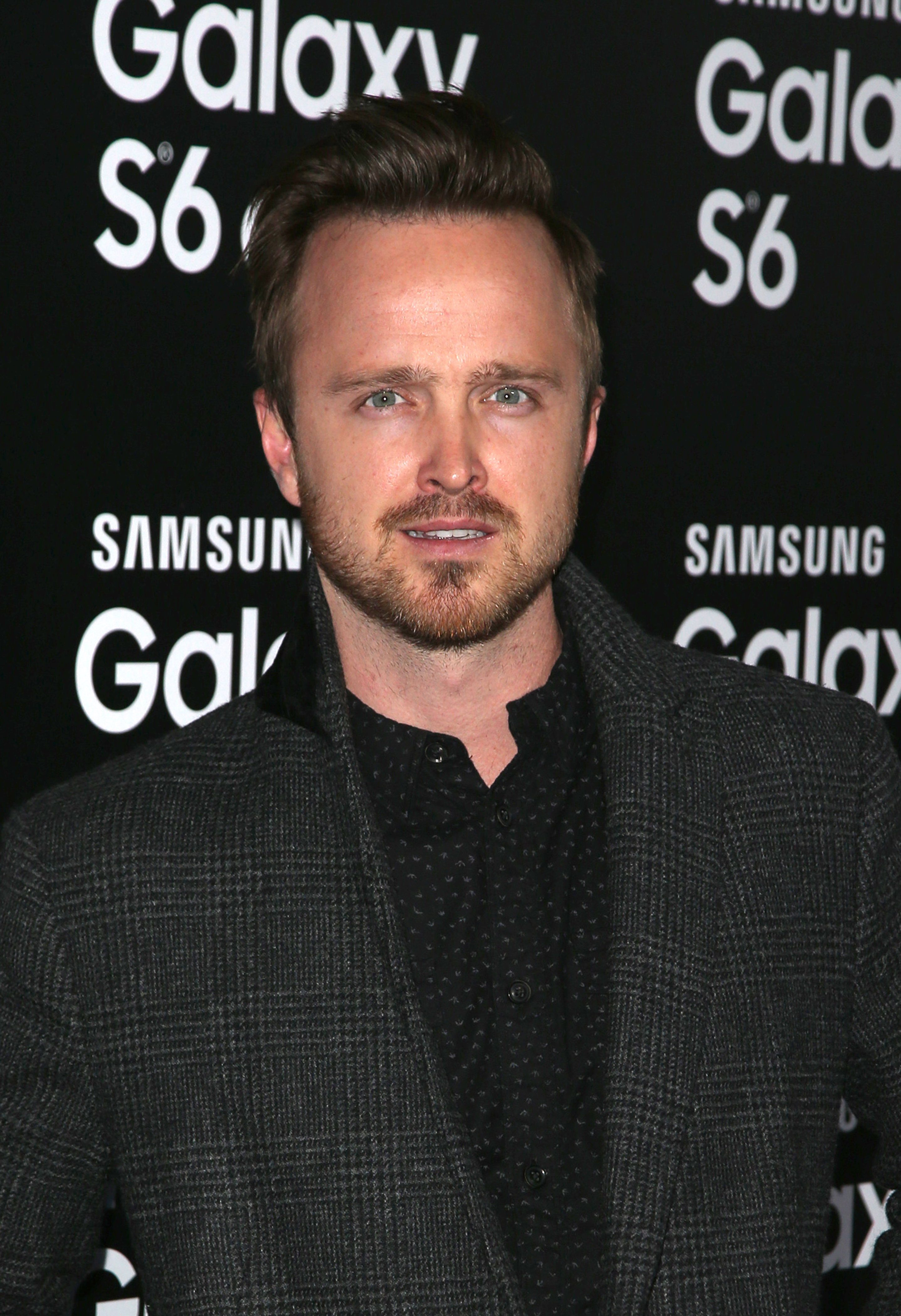 Aaron Paul attends the launch of the Samsung Galaxy S6 and Galaxy S6 Edge at Quixote Studios in Los Angeles on April 2, 2015. (FayesVision/WENN)