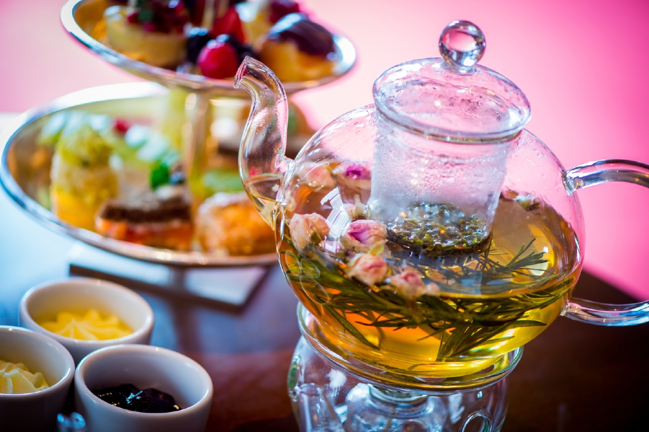 The afternoon begins with a choice of 12 black, green, herbal or white teas (trying the Jasmine Silver Needle or Flowering Osmanthus), served with sugar-topped cherry scones and apricot Madeleines. (Mandarin Oriental)