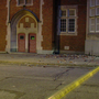 Part of historic building falls off, tosses bricks onto road