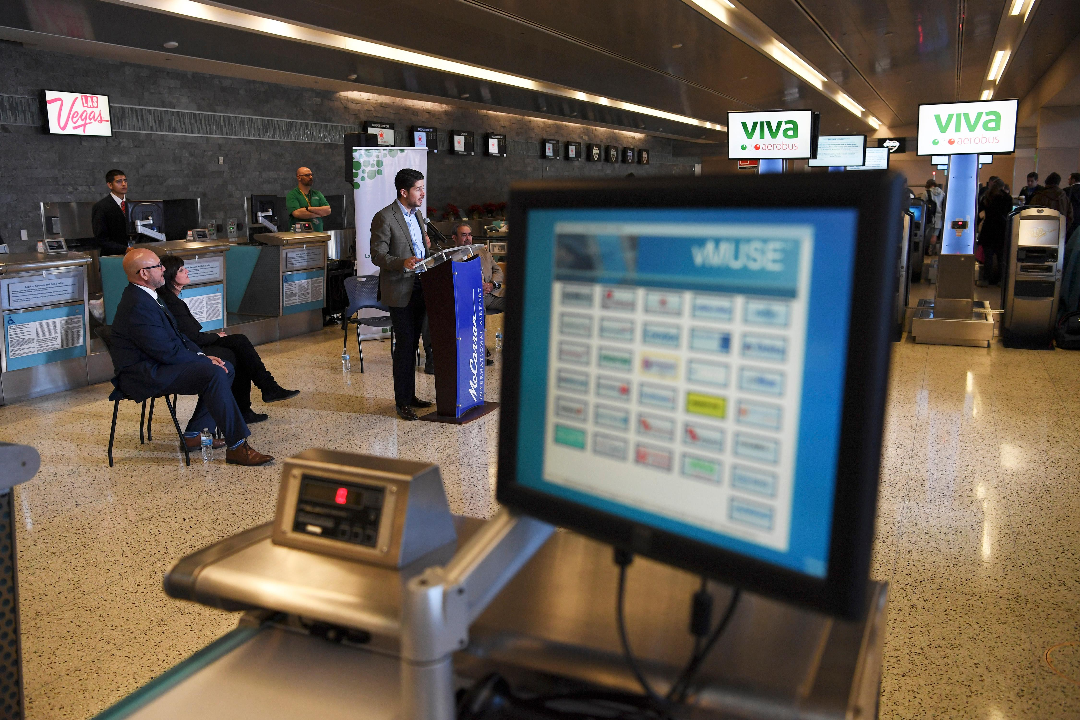 General Director of Viva Aerobus Juan Carlos Zuazua speaks during a news conference at McCarran International Airport to announce new Viva Aerobus service between Las Vegas and Mexico City Friday, December 15, 2017. CREDIT: Sam Morris/Las Vegas News Bureau